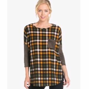 Flannel & Faux Suede Top Size M